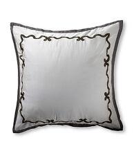 Vera Wang Euro Pillow Sham Embroidery Ribbon Damask 100% Cotton Gray Modern $105