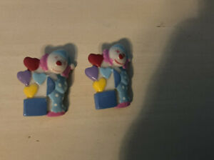2x Quality Vintage Multicoloured Small Clown Buttons