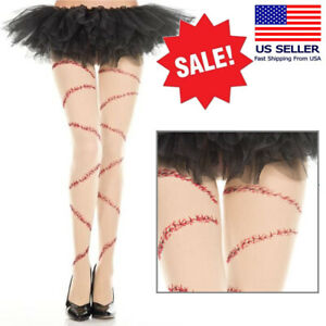 Beige/Red Pantyhose Bloody Stitch Zombie Print Tights Blood Halloween Costume OS