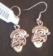NEW Dia De Los Muertes Day of The Dead Mariachi Skeleton Earrings Halloween Hook