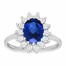 3 1/6 Ct Blue and White Sapphire Ring in 10k White Gold