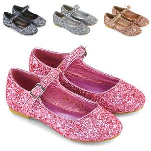 Girls Flat Glitter Bridal Party Shoes Children Kids Bridesmaid Ballet Pumps Size