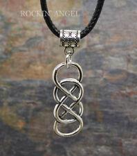 Antique Silver Plt Double Infinity Pendant Necklace,  Men / Ladies Gift Love