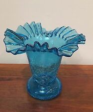 Vintage Blue Hand Blown Crackle Glass Vase with Ruffled Crimped Edge