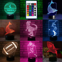 3D Visualization LED Night Stand Light Lamp 7 Color Changing With Remote Control