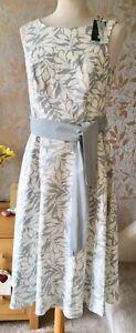 Papaya Classic NEW Linen Blend Dress Size 8 Women's Grey White Leaves Tie Belt
