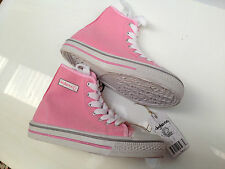 BNWT Older Girls  Sz 3 Rivers Doghouse Pretty Pink Canvas High Top Jogger Boots