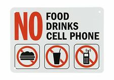"""SmartSign Plastic Sign Legend """"No Food No Drinks No Cell Phone""""... Free Shipping"""
