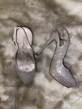 Womens Sparkly Sling Back Worn Next Heels Size 3 Used Shoes