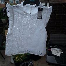 Ladies White Cotton Top  BNWT Size 10 By NEW LOOK