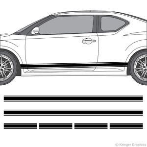 Rocker Panel Racing Stripes 3M Vinyl Decal Kit for Scion tC or FR-S