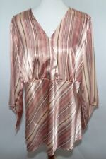 VTG Lane Bryant Striped Flowy Pink Tan Blouse Top Work Womens 18/20 Made in USA