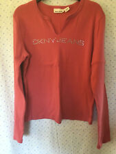 DKNY Ladies Coral Pink Round Neck Long Sleeve Cotton T Shirt, size Large