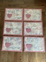 Vintage Set Of 6 Quilted Pink Heart Placemats