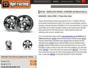 2PCS 1:8 RC TRUCK Rims HPI Savage Wheels 83x56mm/17mm Silver HPI 3192 Savage 4.6