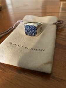 David Yurman Sterling Silver Sapphire Pave Signet Men's Ring Size 10.5 With Bag