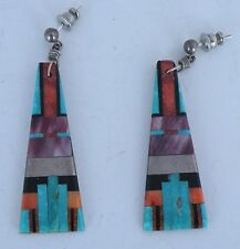 sterling Sugilite, Onyx, Turquoise inlay Native American Santo Domingo earrings