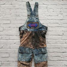 Vintage Rare 80s Troop Denim Leather Overalls Size 30
