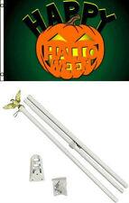 3x5 Happy Halloween Pumpkin Jack-o-Lantern Flag White Pole Kit Set 3'x5'