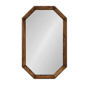 Kate and Laurel Abernathy 19-Inch x 31-Inch Octagon Wall Mirror in Walnut