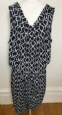 JONES NEW YORK Black White Stretchy Drop Elastic Waist Cowl Neck Drape Dress 3X