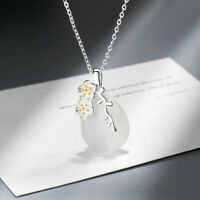 925 Sterling Silver Cherry Blossom Opal Drop Pendant Necklace Women Jewelry