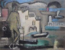 CHARLES CHARTIER-French Modernist-Original Signed Oil-Étang de Berre Harbor