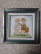 Folk Art Decorative Vintage Children Mid Century Decoration Tile Painting EUC