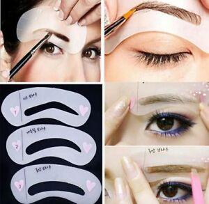 💙3 Eyebrow Stencils Shaper Grooming Kit Brow MakeUp Template Tool Reusable💙