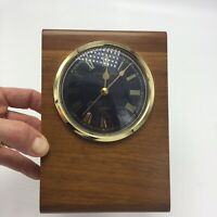 Vintage Wooden Desk Clock Stand Gold TrimStewart Austin Decorative *Non-Working*