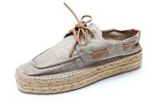 TORY BURCH Grey Sparkling Canvas Platform Espadrilles Shoes 204566 Sz. 10
