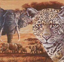 2 Serviettes en papier Afrique Safari Léopard Decoupage Paper Napkins Afrika