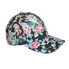 D&Y Women's Floral Print Black Baseball Cap Hat 100% Cotton Canvas