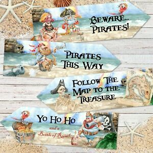 4 Pirate Party Treasure Hunt Decoration Arrows