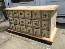 VINTAGE HANDMADE APOTHECARY SPICE CABINET WOODEN STORAGE CHEST 18 DRAWER SHABBY