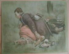 Gravure Lithographie Pierre Jeanniot guerre poilu officier militaire XIXè XXè