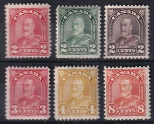 CANADA 1930-31 MINT LOT 6 STAMPS #164/68 + 172, KING GEORGE V ARCH/LEAF !! T5