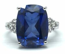 10k White Gold Faceted Rectangular Blue Tanzanite CZ Pyramid Cocktail Ring Sz. 7