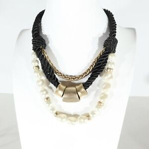 CHICO'S Multi Strand Chunky Rope Chain Faux Pearl Gold Tone Statement Necklace