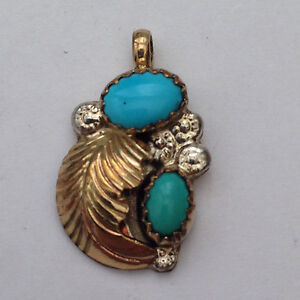 Sterling Silver Gold Filled Navajo Style Oval Turquoise Stone Feather Pendant