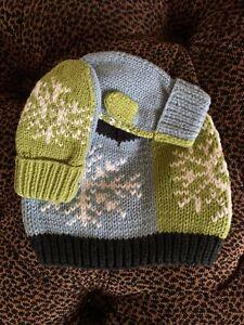 New BABY GAP Knit Hat Mitten Set (6-12 M) Snowflake Fair Isle