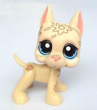 LPS Littlest Pet Shop Pets Tan deco Great Dane Dog Flower Tattoo Blue eyes
