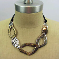 Mixed Hammered Textured Metal Necklace Set Gold Silver Bronze Tones with earring