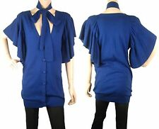 ConMiGo CD400 long blue short sleeves fine cardigan with scarf