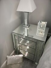 Brand New Floating Crystal Mirrored Glass Bedside Table