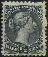 Canada #21 used F-VF 1868 Queen Victoria 1/2c black Large Queen CV$70.00
