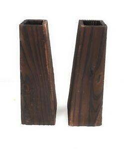2 x finished brown wood vases 28 cm tall 6 cm diameter wedding/ xmas