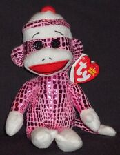 TY PINK SPARKLE SOCK MONKEY BEANIE BABY - MINT with MINT TAGS