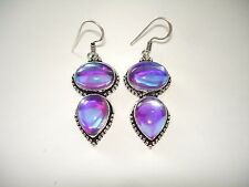 AB Blue Amethyst Purple Rainbow Mystic Topaz Silver Hook Dangle Earrings 2""