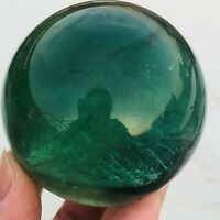 349g Natural Clear Green Rainbow Fluorite Crystal Sphere Healing Collection